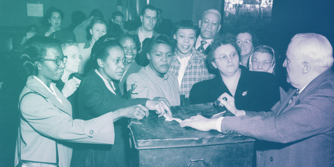 Voters at a polling station in Pittsburgh, 1950