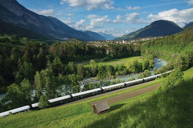 the venice simplon orient express passing through near roppen, austria