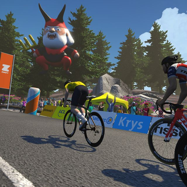 a screenshot of a stage from zwift's virtual tour de france