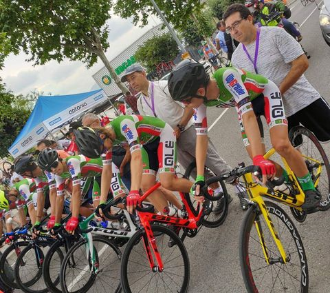 Junior racers line up at the start of the Vuelta al Penedés team time trialin Spain.