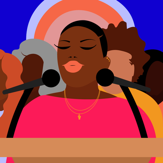 a colorful illustration of a young black woman standing in front of a mic getting ready to share