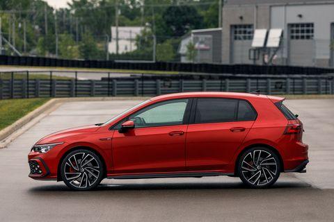 vw gti mk8 bacarella side view red car