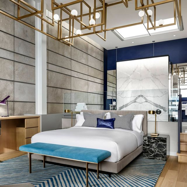 Bedroom, Furniture, Room, Bed, Interior design, Building, Property, Wall, Bed frame, Ceiling,