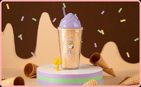 紫色霜淇淋造型的史奴比環保杯