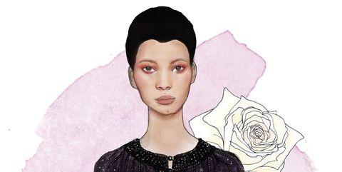 Ear, Lip, Hairstyle, Sleeve, Shoulder, Eyebrow, Style, Fashion, Lipstick, Art,