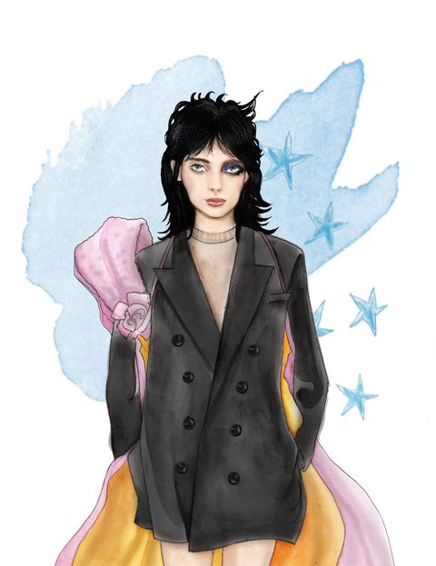 Art, Fashion illustration, Blazer, Illustration, Animation, Fashion design, Painting, Button, Costume, Costume accessory,