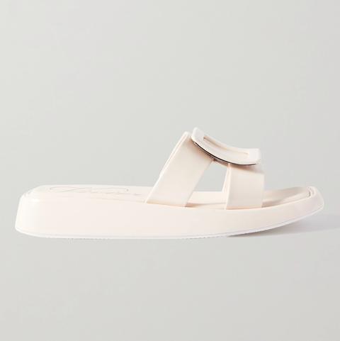 roger vivier 奶油白漆皮拖鞋