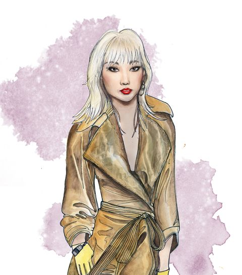 Hairstyle, Style, Art, Fashion illustration, Blond, Bangs, Painting, Long hair, Artwork, Hair coloring,