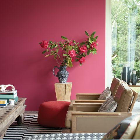 Pink, Room, Red, Houseplant, Interior design, Furniture, Plant, Flower, Living room, Tree,