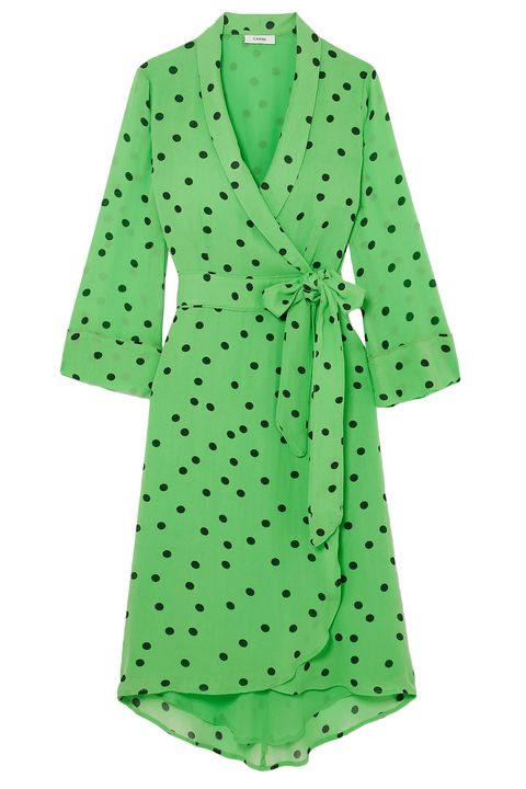 Clothing, Green, Robe, Sleeve, Day dress, Pattern, Dress, Outerwear, Polka dot, Design,