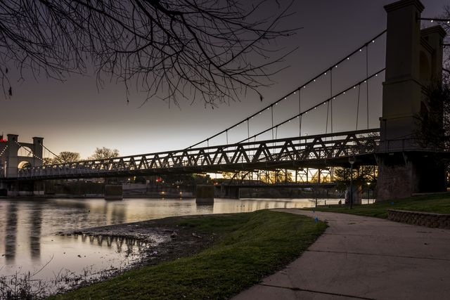 waco, texas feb 24, 2017  the waco suspension bridge after sunset with lights along the cables illuminated, was taken from the northern bank of the brazos river