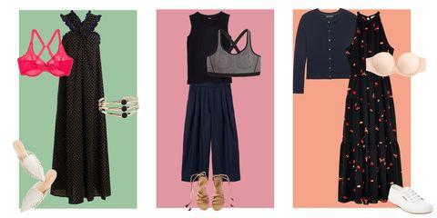 Clothing, Black, Dress, Day dress, Little black dress, Pattern, Pink, Fashion, Polka dot, Vintage clothing,