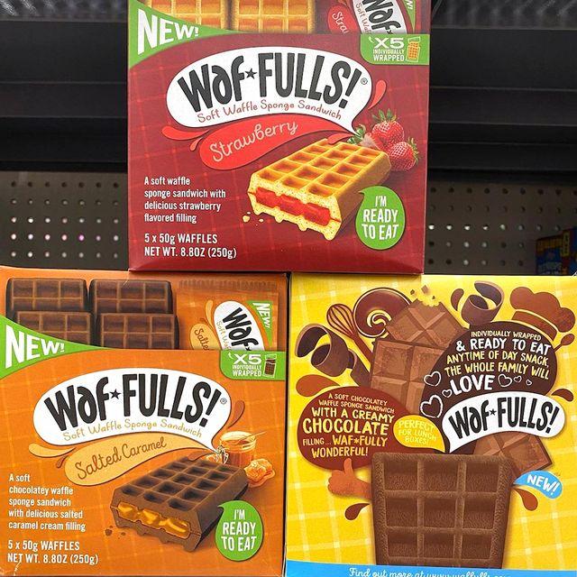 waf fulls double chocolate strawberry and salted caramel soft waffle sponge sandwich