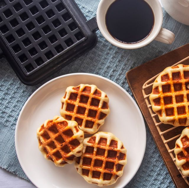 mini waffles with waffle maker and coffee