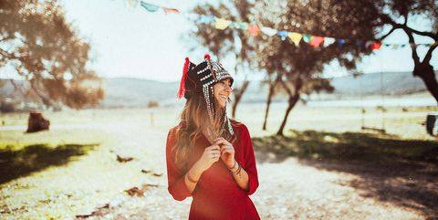 Photograph, Red, Leaf, Beauty, Light, Dress, Headpiece, Tree, Skin, Sunlight,