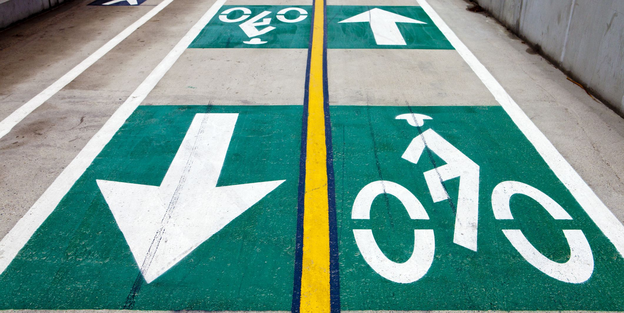Walking and bicycle lanes on a roadway