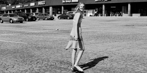White, Monochrome, Human leg, Dress, Style, Monochrome photography, Black-and-white, Street fashion, High heels, Day dress,
