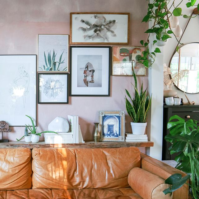 eclectic living room gallery wall art