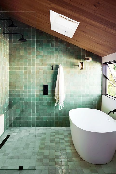 bathroom with green zellige tiles