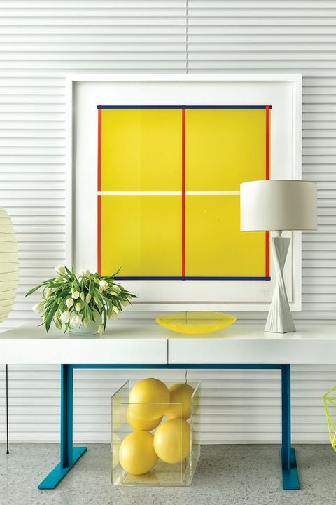 Yellow, Furniture, Table, Orange, Room, Interior design, Wall, Desk, Shelf, Material property,