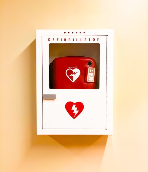 wall mounted emergency heart defibrillator