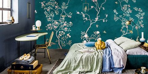 Blue, Turquoise, Room, Teal, Wall, Wallpaper, Furniture, Tree, Wall sticker, Interior design,