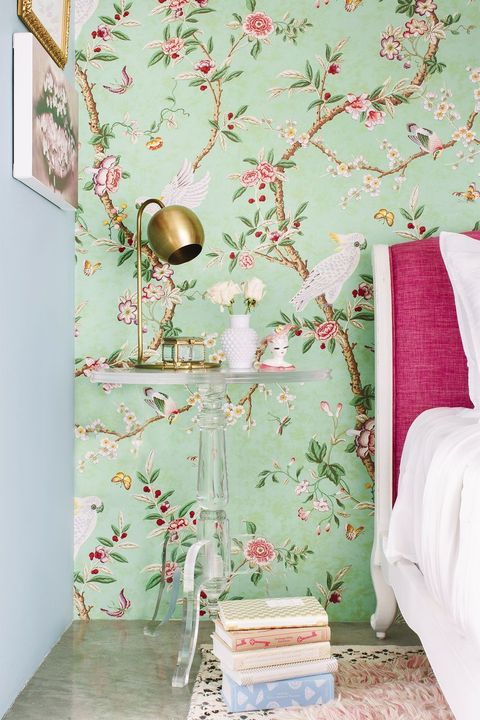 bright floral accent wall