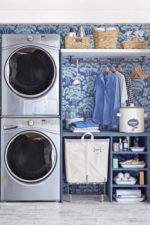 wallpaper laundry room closet