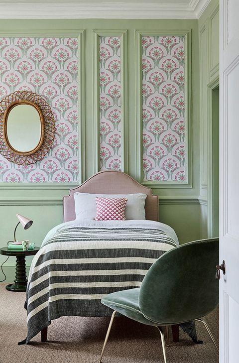 wallpaper ideas panelling bedroom