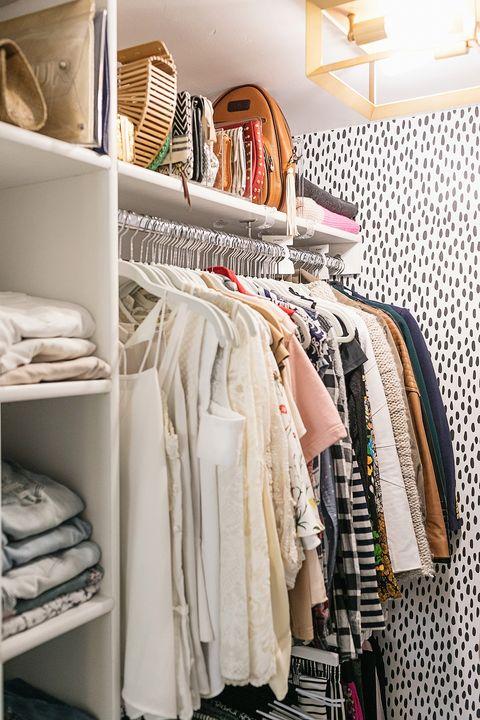 Shelf, Closet, Clothes hanger, Room, Furniture, Shelving, Interior design, Bedroom, Linens, Home accessories,