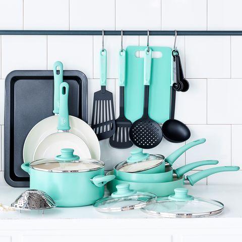 Turquoise, Dish rack, Kitchen utensil, Dinnerware set, Cookware and bakeware,