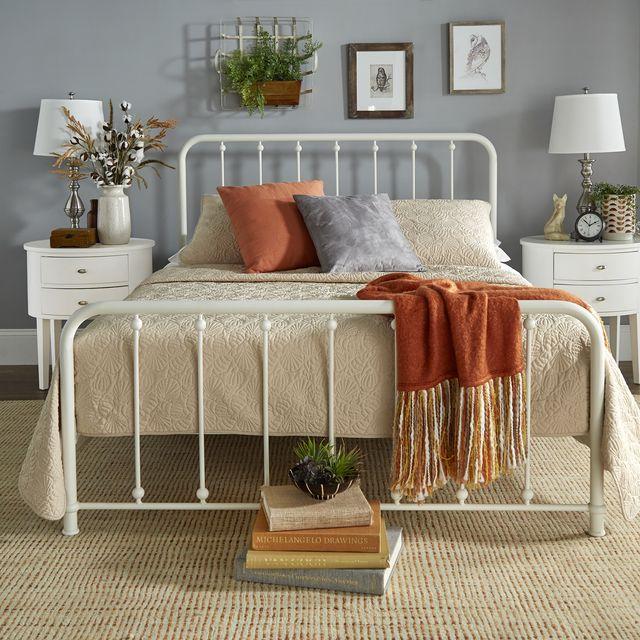 Furniture, Bed, Room, Bedroom, Bed frame, Orange, Interior design, Product, Table, Shelf,