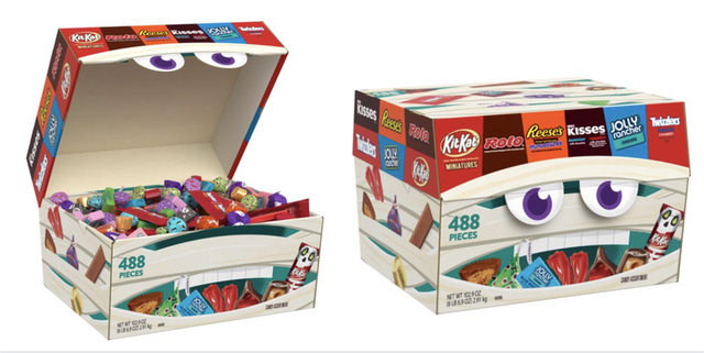 walmart candy box in the shape of a mouth with kit kat rolo reeses kisses jolly ranchers and twizzlers