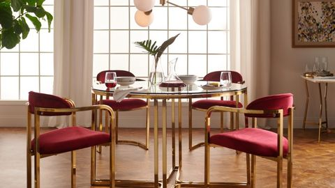 Furniture, Room, Table, Dining room, Product, Kitchen & dining room table, Chair, Interior design, Material property, Glass,