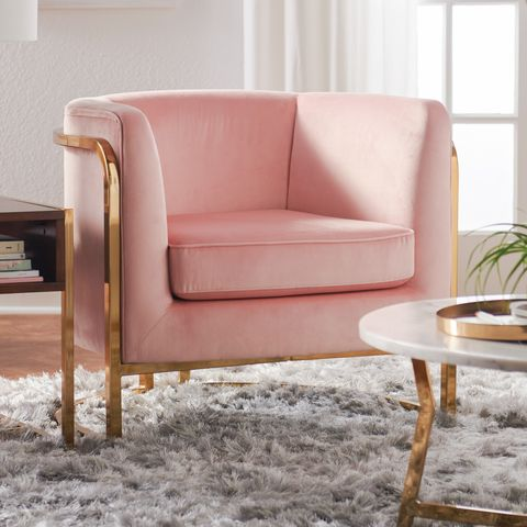 Furniture, Chair, Pink, Room, Living room, Club chair, Couch, Interior design, Slipcover, Loveseat,