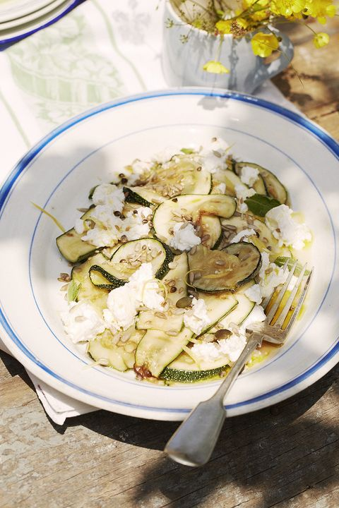 Easy summer salad recipe ideas for a quick, healthy lunch, weekday dinner or barbecue side dish, using courgette and ricotta.