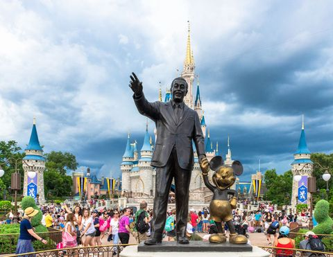 walt disney and mickey mouse statue inside of the magic