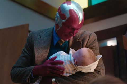 vision paul bettany holding his baby in wandavision