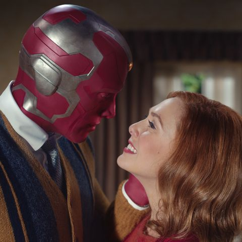 marvel's wandavision   elizabeth olsen as wanda and paul bettany as vision