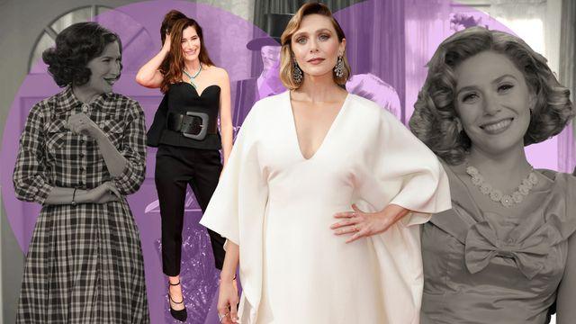 elizabeth olsen y kathryn hahn, protagonistas de la serie de marvel studios wandavision bruja escarlata y vision candidata a premios emmy en 2021