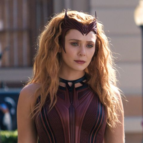 elizabeth olsen as wanda in her scarlet witch outfit during wandavision episode 9
