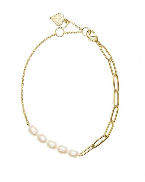 wanderlust  co gold plated pearl bracelet £3924