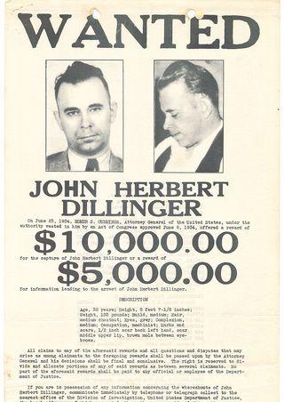 wanted poster for john herbert dillinger