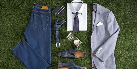 Clothing, Outerwear, Textile, Jacket, Tie, Shirt, Formal wear, Denim, Shoe, Sleeve,