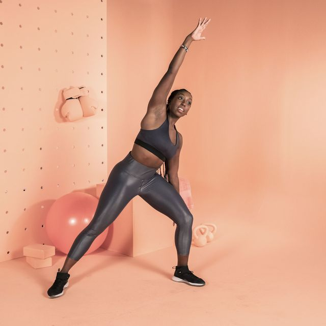 Pink, Shoulder, Arm, Joint, Standing, Leg, Lunge, Stretching, Physical fitness, Muscle,
