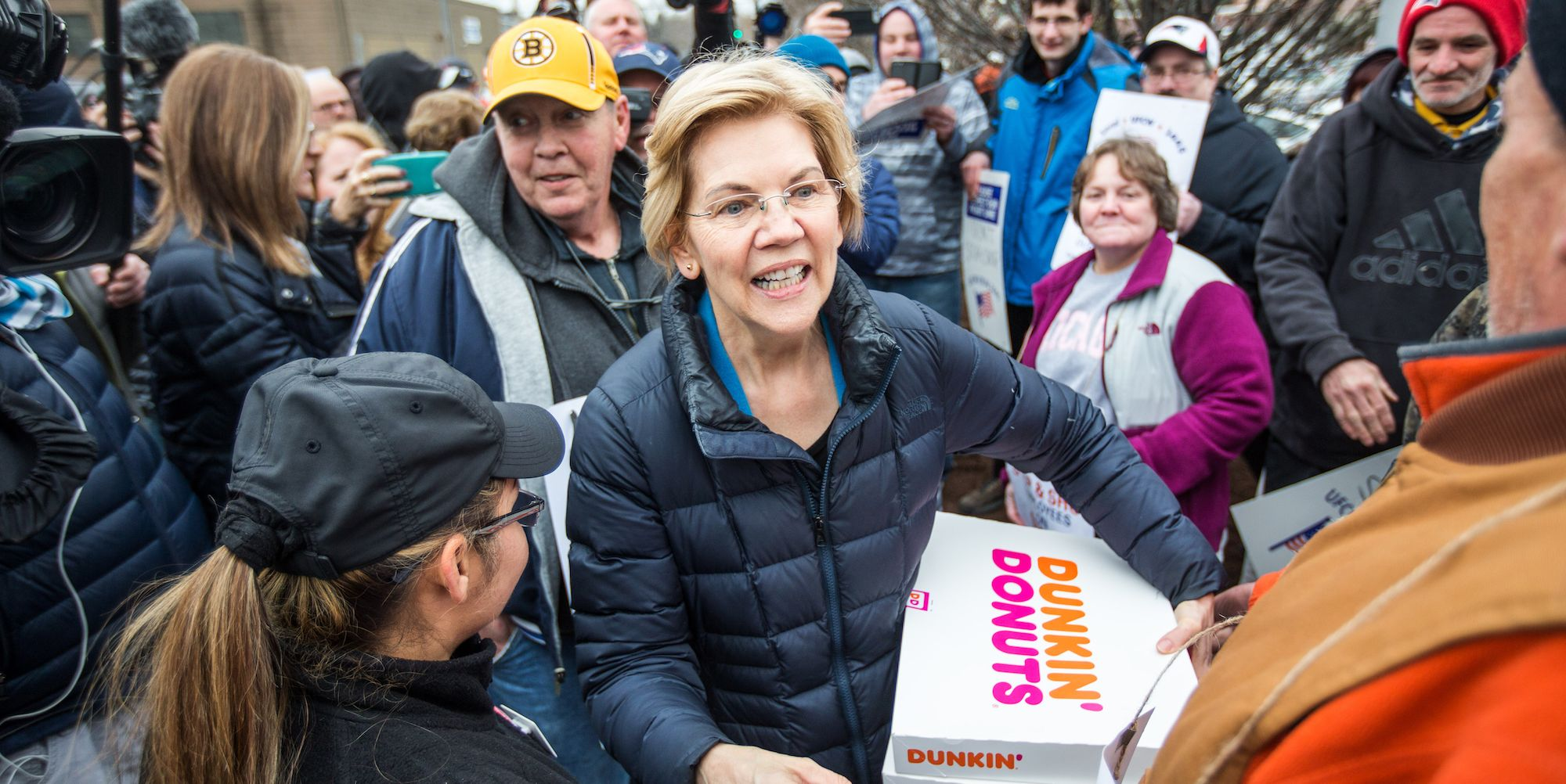 Democratic Presidential Candidate Elizabeth Warren Joins Picket Line With Striking Stop & Shop Workers In Somerville, Massachusetts