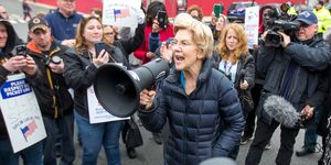 Democratic Presidential Candidate Elizabeth Warren Joins Picket Line With Striking Stop & Shop Workers In Somerville, Massachusetts