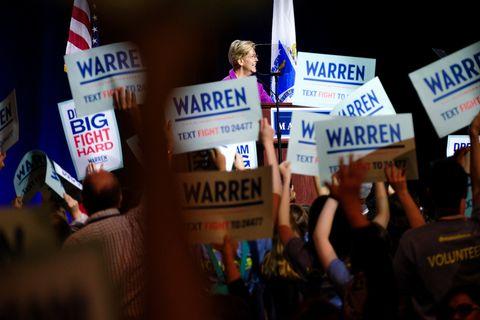 Presidential Candidate Elizabeth Warren speaks at the