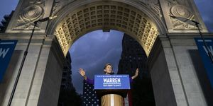 Elizabeth Warren Delivers Campaign Speech in NYC's Washington Square Park