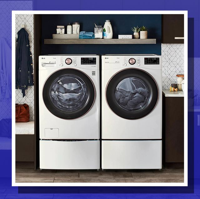 lg turbowash 360 steam front load washer and dryer set in laundry room